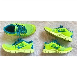 Neon green Nike sneakers Boys size 6Y